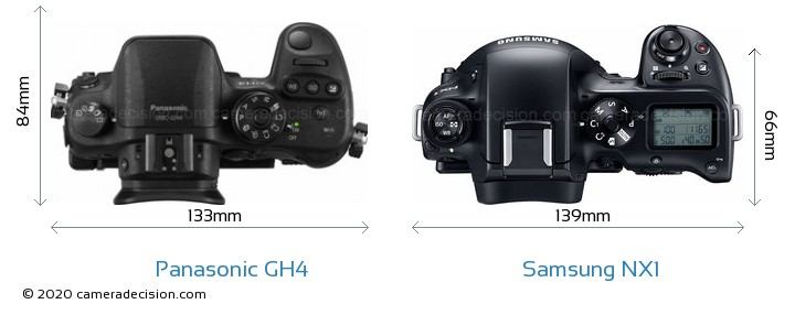Panasonic GH4 vs Samsung NX1 Camera Size Comparison - Top View