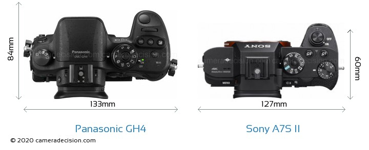 Panasonic GH4 vs Sony A7S II Camera Size Comparison - Top View