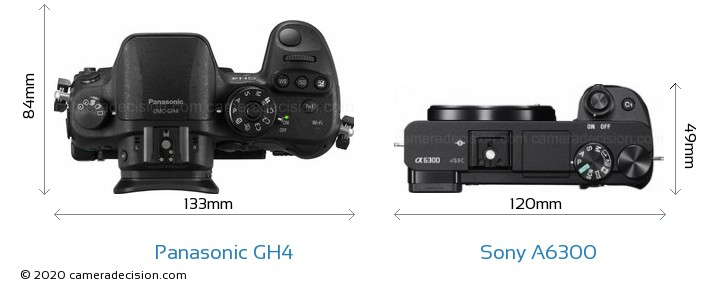 Panasonic GH4 vs Sony A6300 Camera Size Comparison - Top View