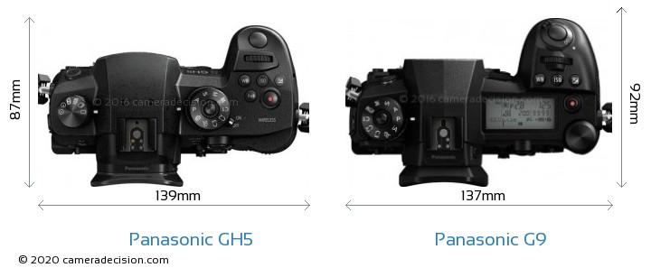 Panasonic GH5 vs Panasonic G9 Camera Size Comparison - Top View