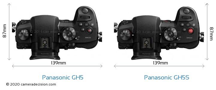 Panasonic GH5 vs Panasonic GH5S Camera Size Comparison - Top View