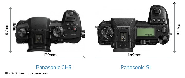 Panasonic GH5 vs Panasonic S1 Camera Size Comparison - Top View