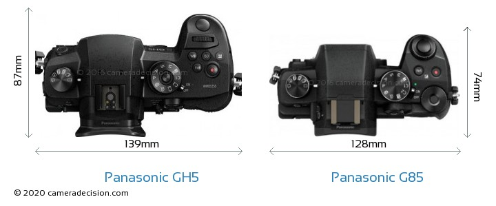 Panasonic GH5 vs Panasonic G85 Camera Size Comparison - Top View