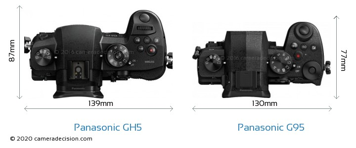 Panasonic GH5 vs Panasonic G95 Camera Size Comparison - Top View