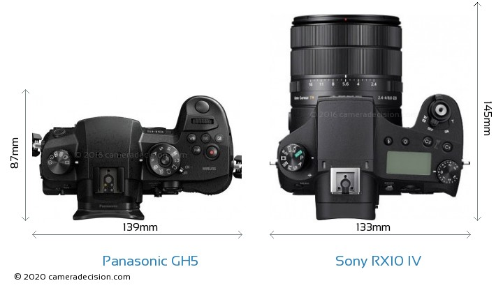 Panasonic GH5 vs Sony RX10 IV Camera Size Comparison - Top View