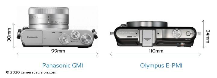 Panasonic GM1 vs Olympus E-PM1 Camera Size Comparison - Top View