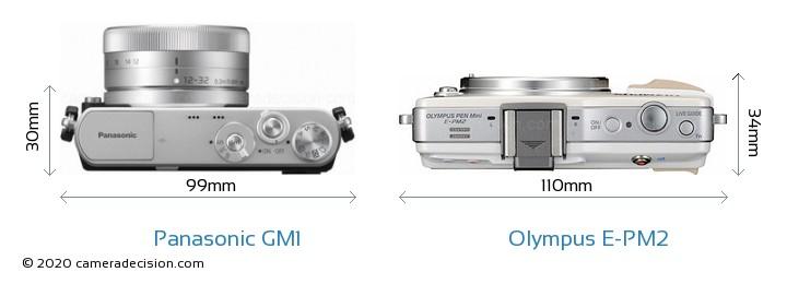 Panasonic GM1 vs Olympus E-PM2 Camera Size Comparison - Top View