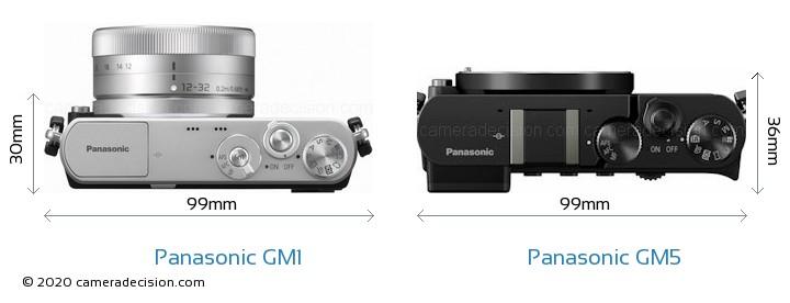 Panasonic GM1 vs Panasonic GM5 Camera Size Comparison - Top View