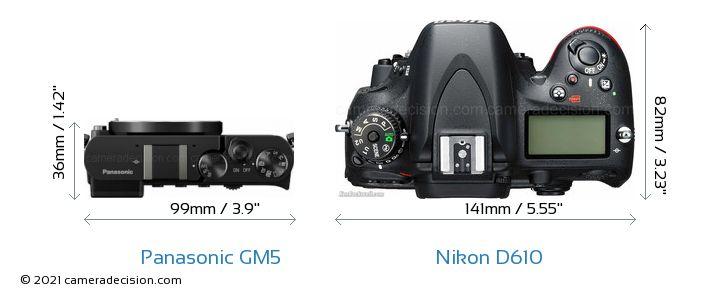 Panasonic GM5 vs Nikon D610 Camera Size Comparison - Top View