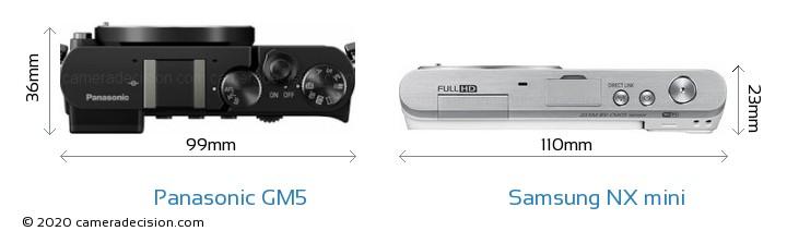 Panasonic GM5 vs Samsung NX mini Camera Size Comparison - Top View