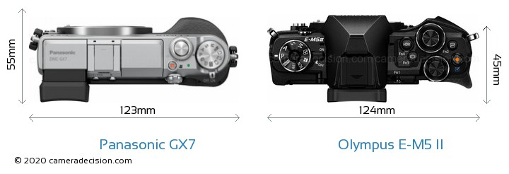 Panasonic GX7 vs Olympus E-M5 II Camera Size Comparison - Top View