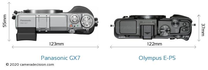 Panasonic GX7 vs Olympus E-P5 Camera Size Comparison - Top View