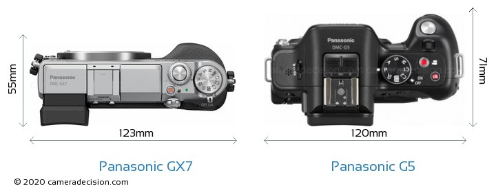Panasonic GX7 vs Panasonic G5 Camera Size Comparison - Top View