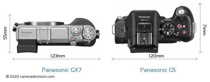 Panasonic GX7 vs Panasonic G5 Camera Size Comparison - Top View