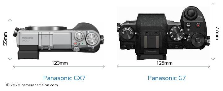 Panasonic GX7 vs Panasonic G7 Camera Size Comparison - Top View