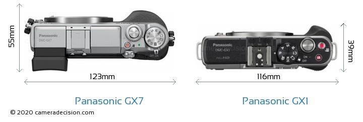 Panasonic GX7 vs Panasonic GX1 Camera Size Comparison - Top View