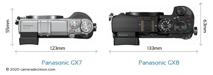 Panasonic GX7 vs Panasonic GX8 Camera Size Comparison - Top View