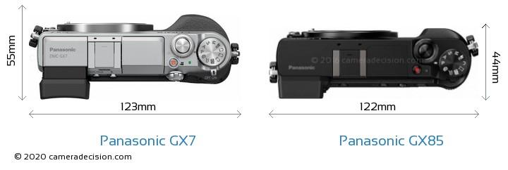 Panasonic GX7 vs Panasonic GX85 Camera Size Comparison - Top View
