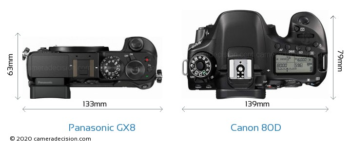 Panasonic GX8 vs Canon 80D Camera Size Comparison - Top View