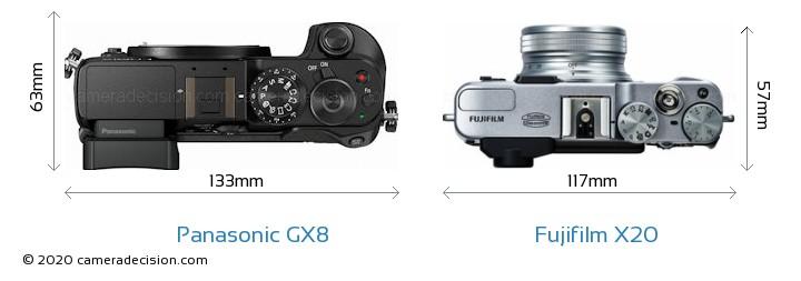 Panasonic GX8 vs Fujifilm X20 Camera Size Comparison - Top View