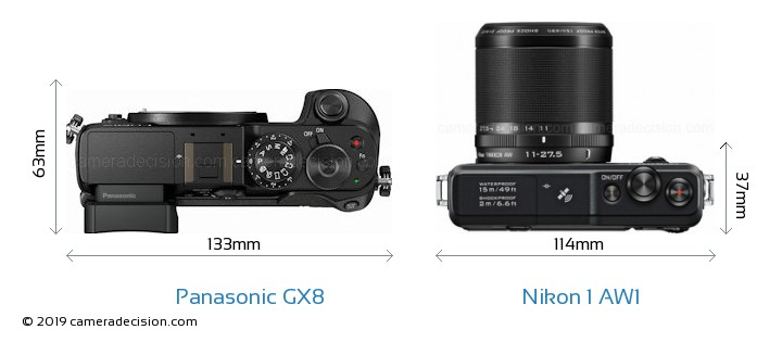 Panasonic GX8 vs Nikon 1 AW1 Camera Size Comparison - Top View