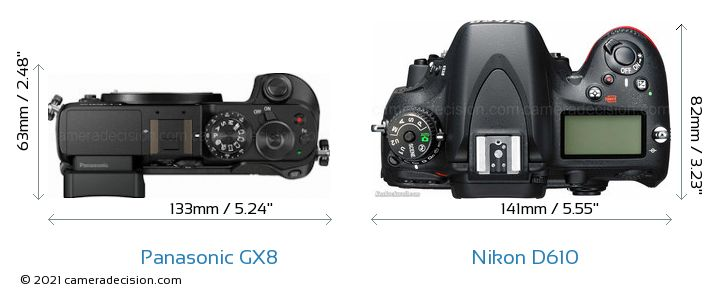 Panasonic GX8 vs Nikon D610 Camera Size Comparison - Top View