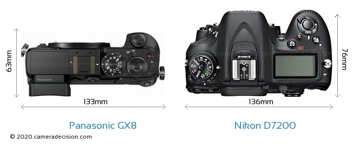 Panasonic GX8 vs Nikon D7200 Camera Size Comparison - Top View