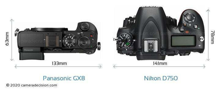 Panasonic GX8 vs Nikon D750 Camera Size Comparison - Top View