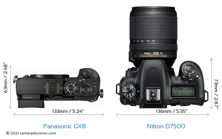 Panasonic GX8 vs Nikon D7500 Camera Size Comparison - Top View