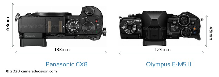 Panasonic GX8 vs Olympus E-M5 II Camera Size Comparison - Top View
