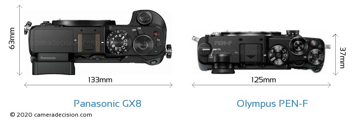 Panasonic GX8 vs Olympus PEN-F Camera Size Comparison - Top View