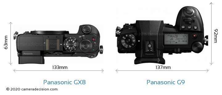 Panasonic GX8 vs Panasonic G9 Camera Size Comparison - Top View