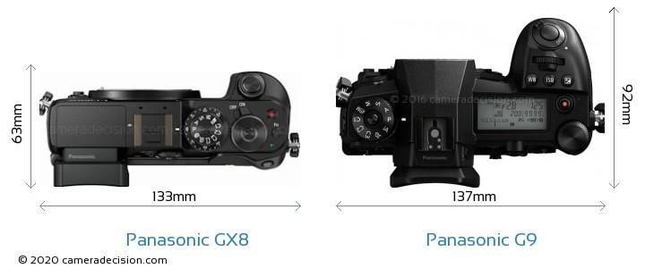 Panasonic GX8 vs Panasonic G9 Camera Size Comparison - Top View
