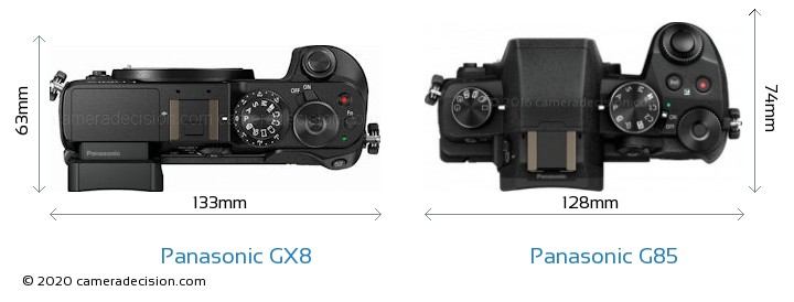 Panasonic GX8 vs Panasonic G85 Camera Size Comparison - Top View