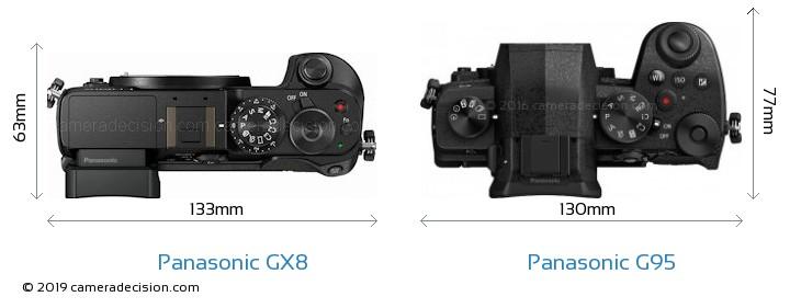 Panasonic GX8 vs Panasonic G95 Camera Size Comparison - Top View