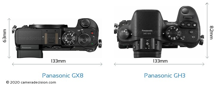 Panasonic GX8 vs Panasonic GH3 Camera Size Comparison - Top View