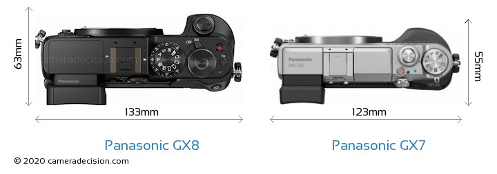 Panasonic GX8 vs Panasonic GX7 Camera Size Comparison - Top View