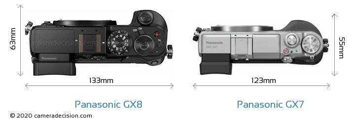 Panasonic GX8 vs Panasonic GX7 Camera Size Comparison - Top View