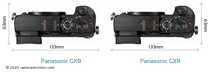 Panasonic GX8 vs Panasonic GX8 Camera Size Comparison - Top View