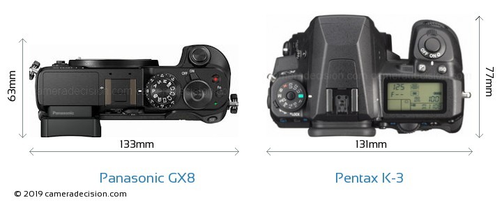 Panasonic GX8 vs Pentax K-3 Camera Size Comparison - Top View
