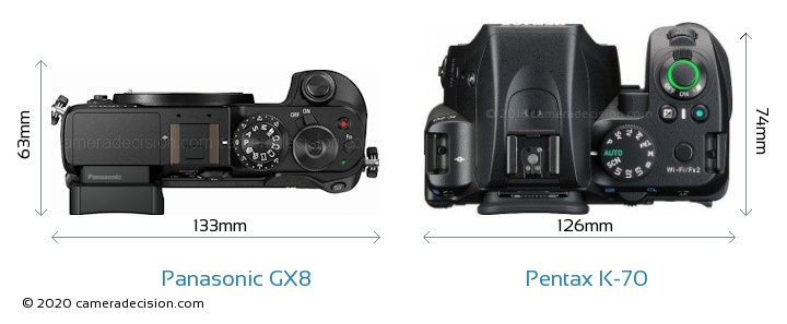 Panasonic GX8 vs Pentax K-70 Camera Size Comparison - Top View