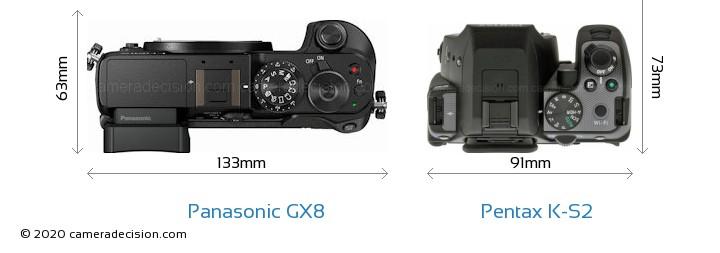 Panasonic GX8 vs Pentax K-S2 Camera Size Comparison - Top View