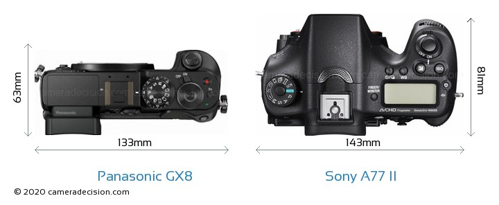 Panasonic GX8 vs Sony A77 II Camera Size Comparison - Top View