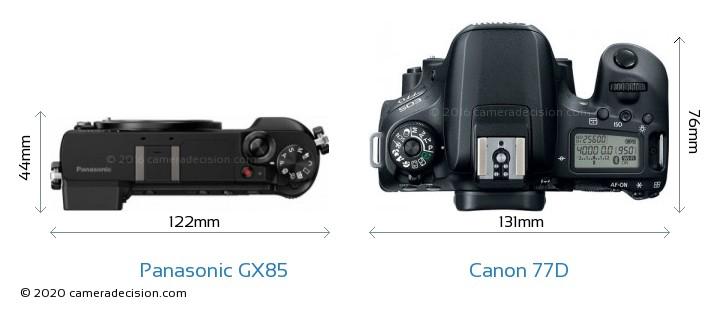 Panasonic GX85 vs Canon 77D Camera Size Comparison - Top View