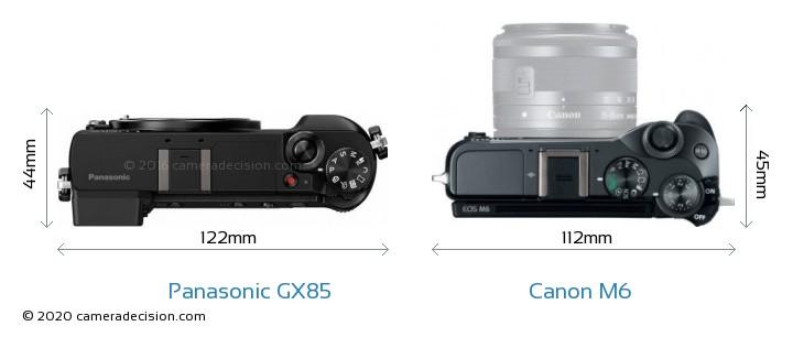 Panasonic GX85 vs Canon M6 Camera Size Comparison - Top View