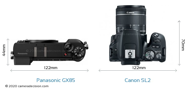 Panasonic GX85 vs Canon SL2 Camera Size Comparison - Top View