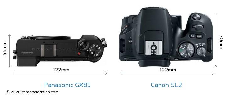 Panasonic GX85 vs Canon SL2 Camera Size Comparison - Top View