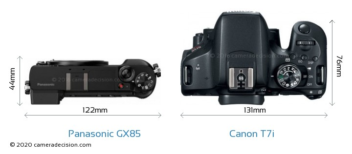 Panasonic GX85 vs Canon T7i Camera Size Comparison - Top View