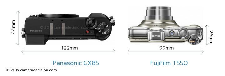 Panasonic GX85 vs Fujifilm T550 Camera Size Comparison - Top View