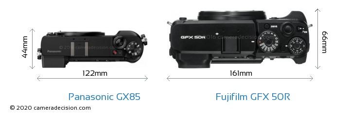 Panasonic GX85 vs Fujifilm GFX 50R Camera Size Comparison - Top View